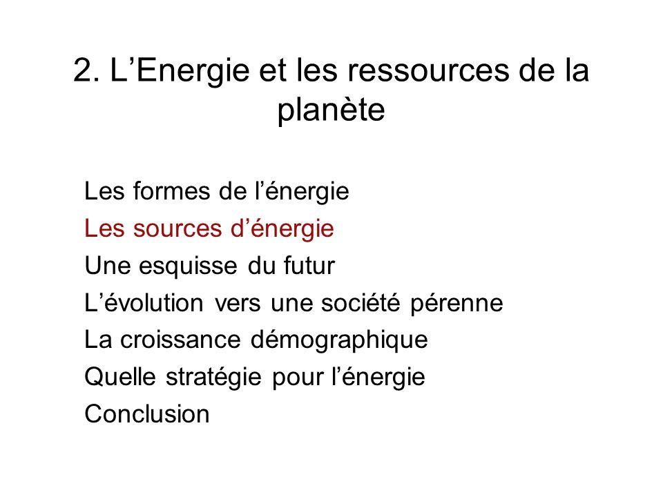 2. LEnergie et les ressources de la planète Les formes de lénergie Les sources dénergie Une esquisse du futur Lévolution vers une société pérenne La c