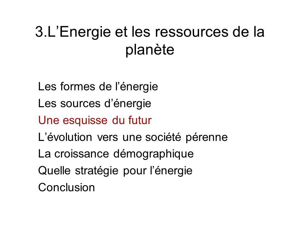 3.LEnergie et les ressources de la planète Les formes de lénergie Les sources dénergie Une esquisse du futur Lévolution vers une société pérenne La cr