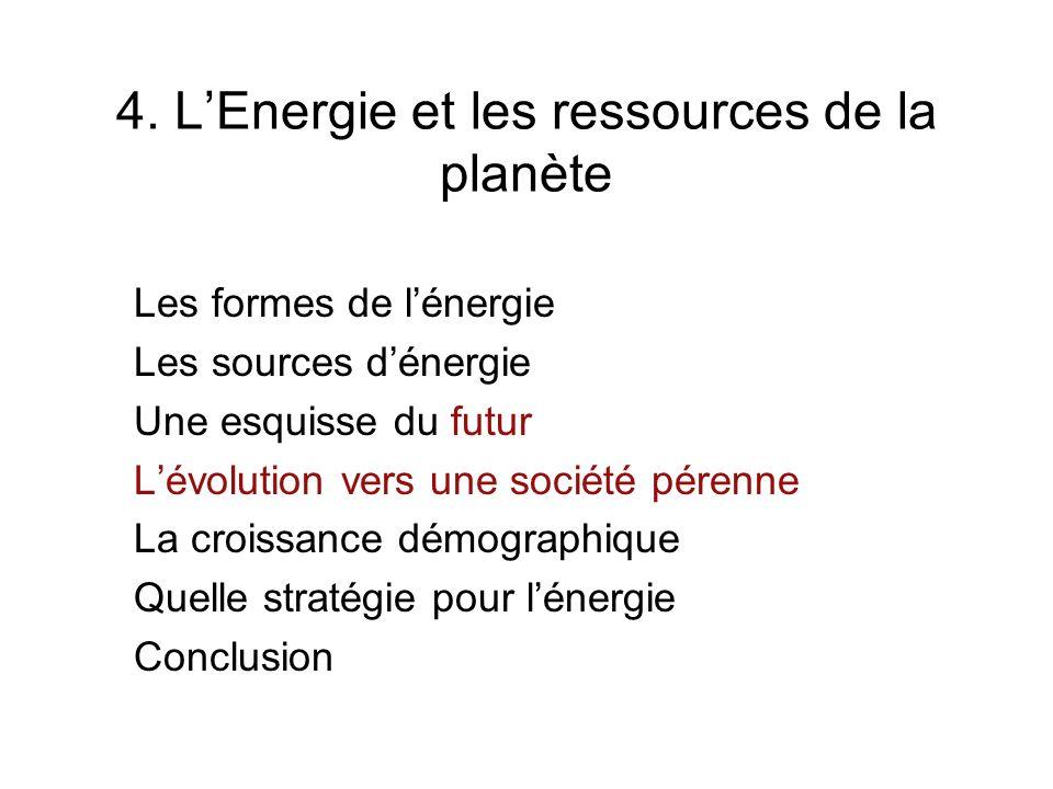 5.LEnergie et les ressources de la planète Les formes de lénergie Les sources dénergie Une esquisse du futur Lévolution vers une société pérenne La croissance démographique Quelle stratégie pour lénergie Conclusion