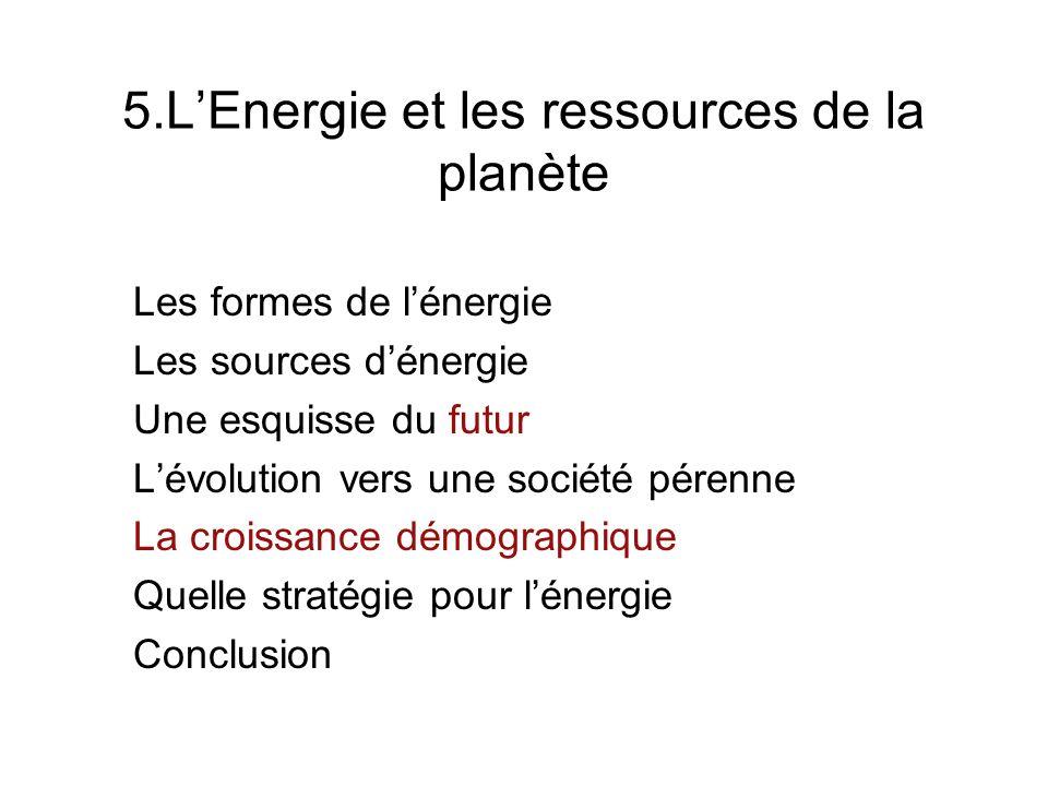 5.LEnergie et les ressources de la planète Les formes de lénergie Les sources dénergie Une esquisse du futur Lévolution vers une société pérenne La cr