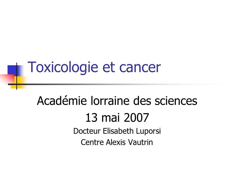 Toxicologie et cancer Académie lorraine des sciences 13 mai 2007 Docteur Elisabeth Luporsi Centre Alexis Vautrin