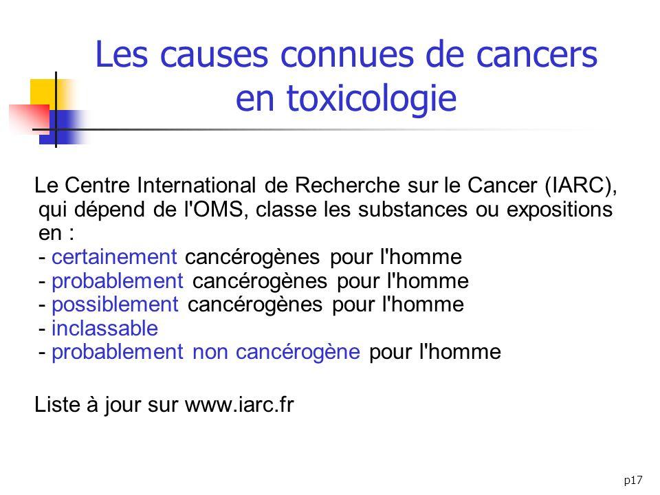 p17 Les causes connues de cancers en toxicologie Le Centre International de Recherche sur le Cancer (IARC), qui dépend de l'OMS, classe les substances