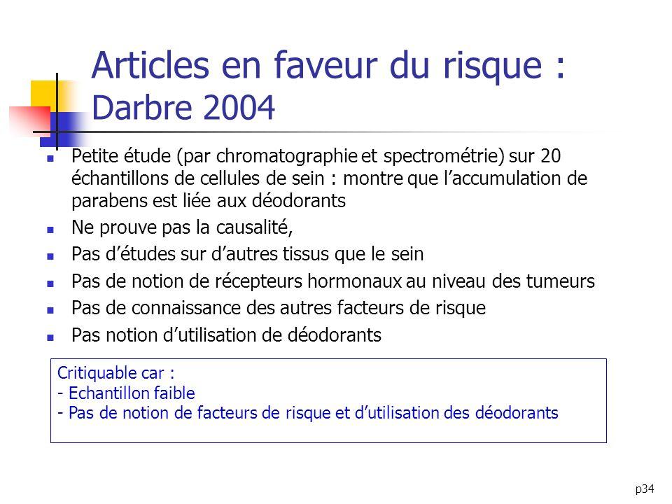 p34 Articles en faveur du risque : Darbre 2004 Petite étude (par chromatographie et spectrométrie) sur 20 échantillons de cellules de sein : montre qu