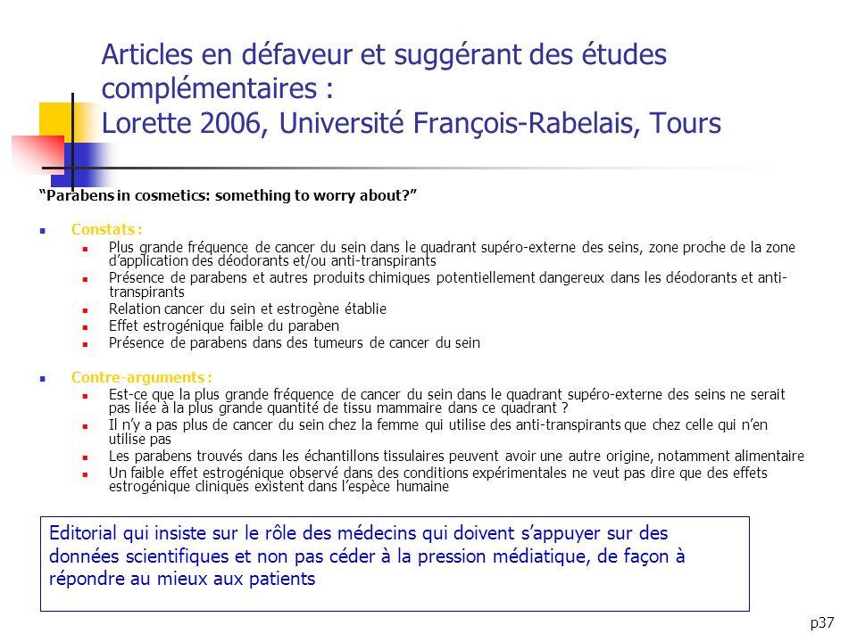 p37 Articles en défaveur et suggérant des études complémentaires : Lorette 2006, Université François-Rabelais, Tours Parabens in cosmetics: something
