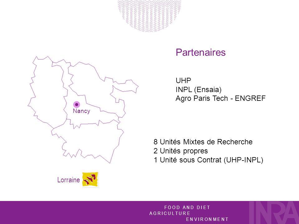 F O O D A N D D I E T A G R I C U L T U R E E N V I R O N M E N T Nancy Lorraine Partenaires UHP INPL (Ensaia) Agro Paris Tech - ENGREF 8 Unités Mixtes de Recherche 2 Unités propres 1 Unité sous Contrat (UHP-INPL)