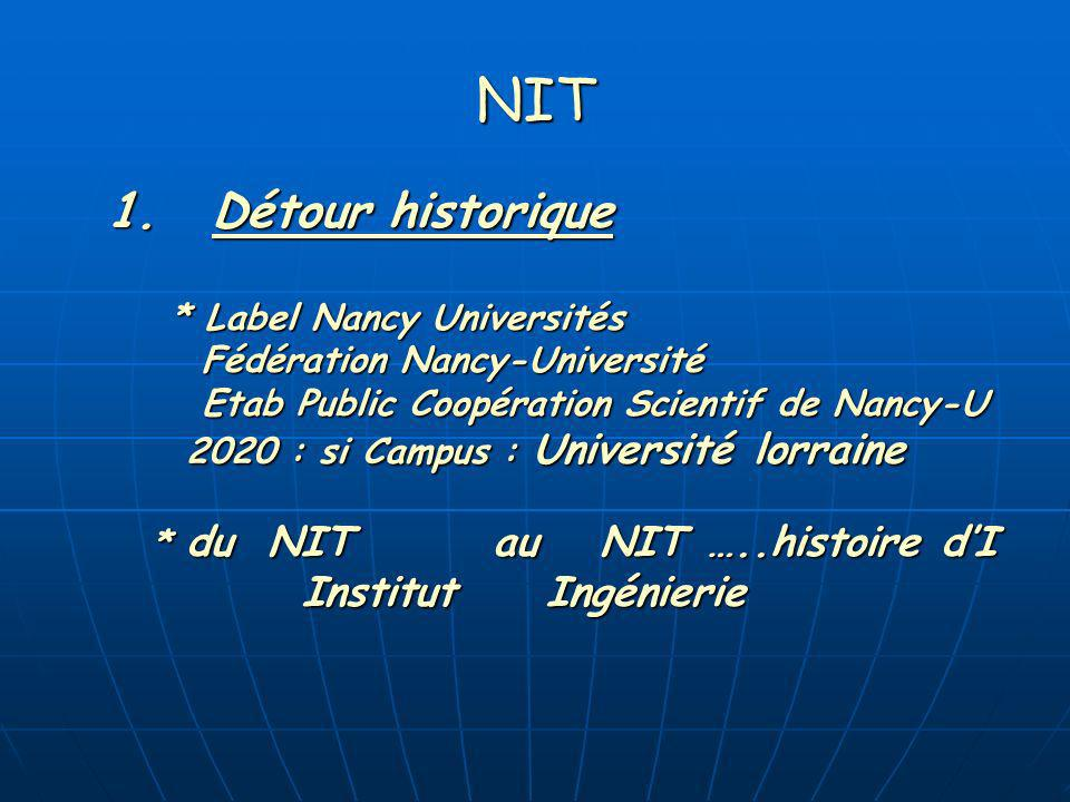 NIT 1.Détour historique * Label Nancy Universités Fédération Nancy-Université Fédération Nancy-Université Etab Public Coopération Scientif de Nancy-U