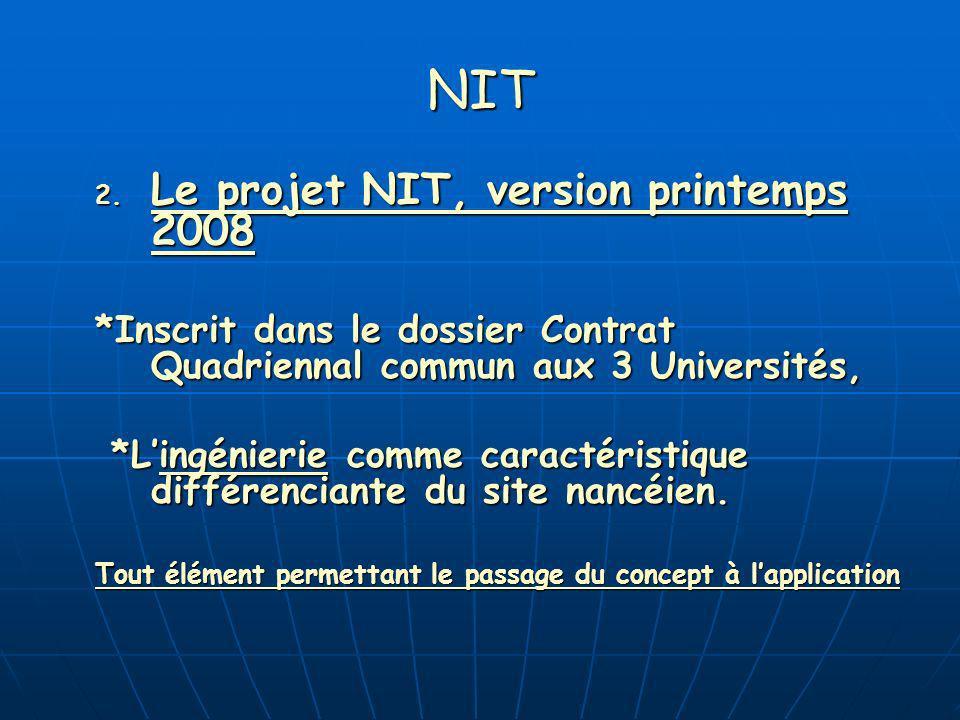 NIT 2.1 Une ambition : Donner de la vitesse à une dynamique de développement partagé (Universités-Entreprises).