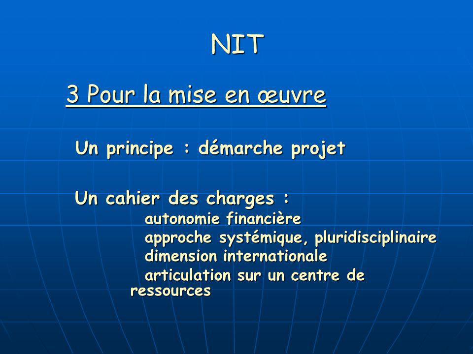 NIT 3 Pour la mise en œuvre Un principe : démarche projet Un cahier des charges : autonomie financière approche systémique, pluridisciplinaire dimensi