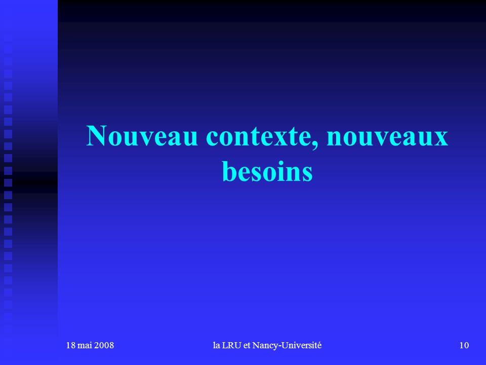 18 mai 2008la LRU et Nancy-Université10 Nouveau contexte, nouveaux besoins
