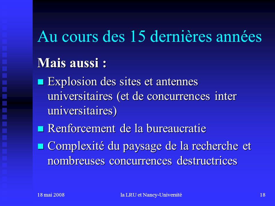 18 mai 2008la LRU et Nancy-Université18 Au cours des 15 dernières années Mais aussi : Explosion des sites et antennes universitaires (et de concurrenc