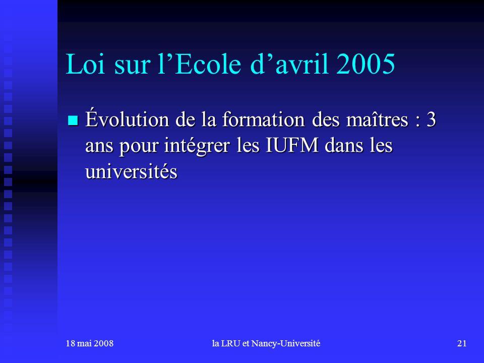 18 mai 2008la LRU et Nancy-Université21 Loi sur lEcole davril 2005 Évolution de la formation des maîtres : 3 ans pour intégrer les IUFM dans les universités Évolution de la formation des maîtres : 3 ans pour intégrer les IUFM dans les universités