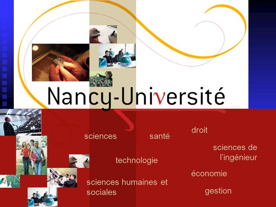 18 mai 2008la LRU et Nancy-Université38 technologie santésciences sciences de lingénieur droit gestion économie sciences humaines et sociales