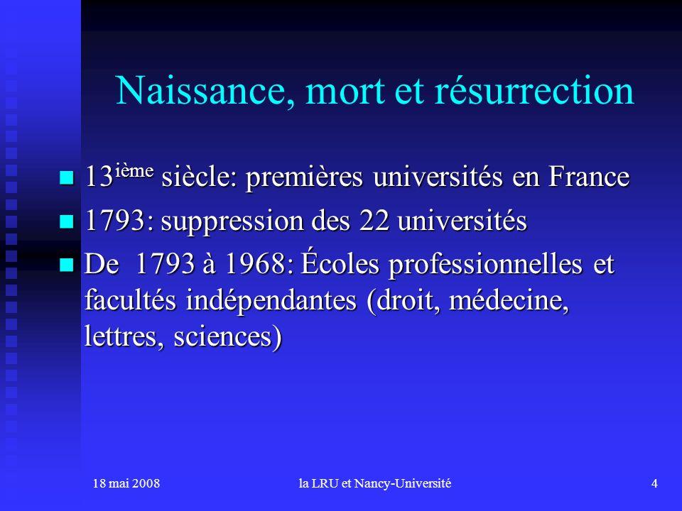 18 mai 2008la LRU et Nancy-Université4 Naissance, mort et résurrection 13 ième siècle: premières universités en France 13 ième siècle: premières unive