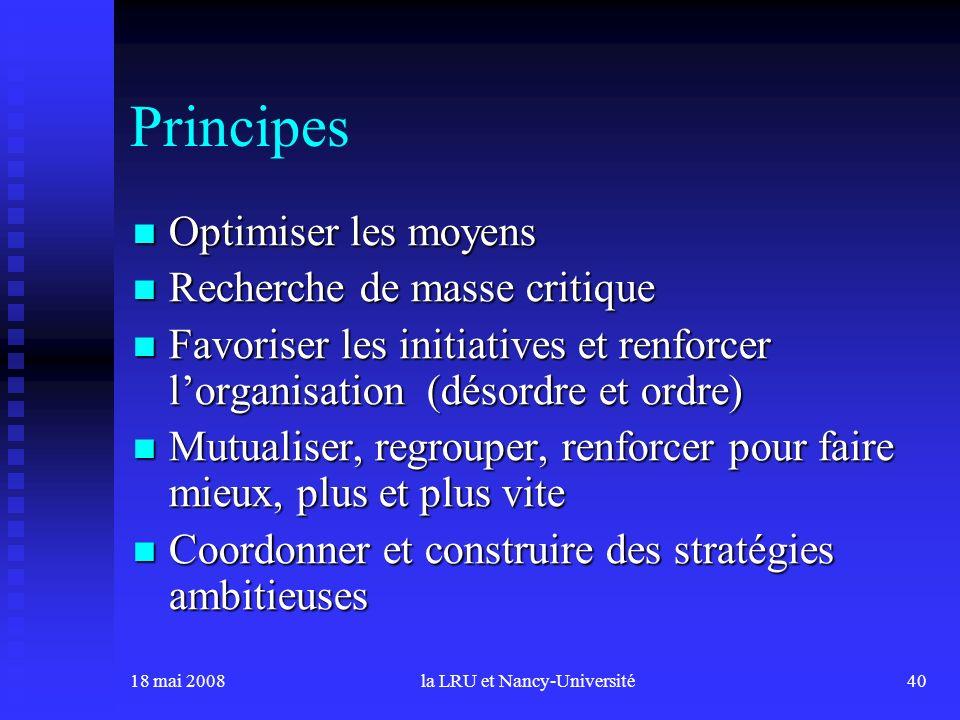 18 mai 2008la LRU et Nancy-Université40 Principes Optimiser les moyens Optimiser les moyens Recherche de masse critique Recherche de masse critique Fa