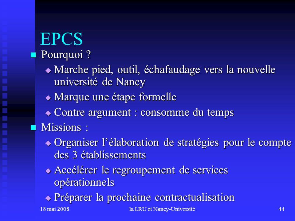 18 mai 2008la LRU et Nancy-Université44 EPCS Pourquoi ? Pourquoi ? Marche pied, outil, échafaudage vers la nouvelle université de Nancy Marche pied, o