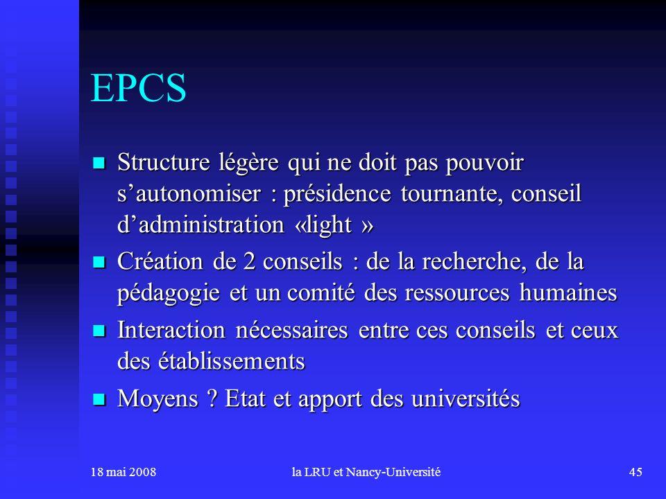 18 mai 2008la LRU et Nancy-Université45 EPCS Structure légère qui ne doit pas pouvoir sautonomiser : présidence tournante, conseil dadministration «li