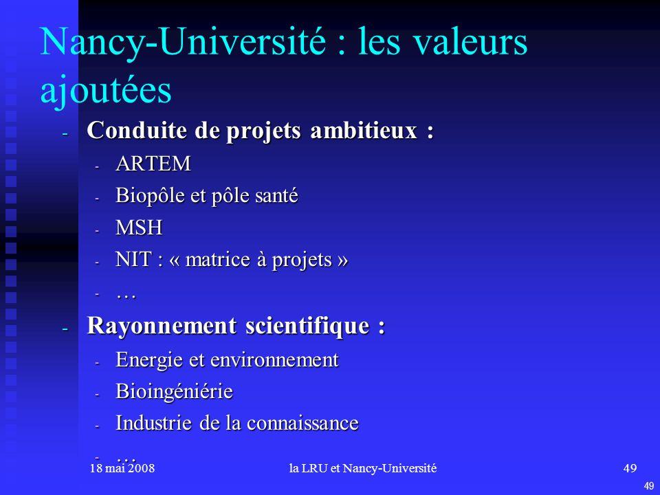 18 mai 2008la LRU et Nancy-Université49 Nancy-Université : les valeurs ajoutées - Conduite de projets ambitieux : - ARTEM - Biopôle et pôle santé - MSH - NIT : « matrice à projets » - … - Rayonnement scientifique : - Energie et environnement - Bioingéniérie - Industrie de la connaissance - … 49