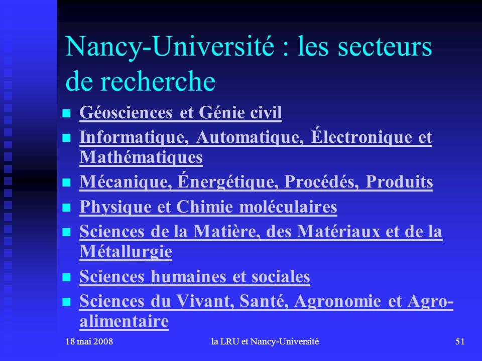 18 mai 2008la LRU et Nancy-Université51 Nancy-Université : les secteurs de recherche Géosciences et Génie civil Informatique, Automatique, Électroniqu