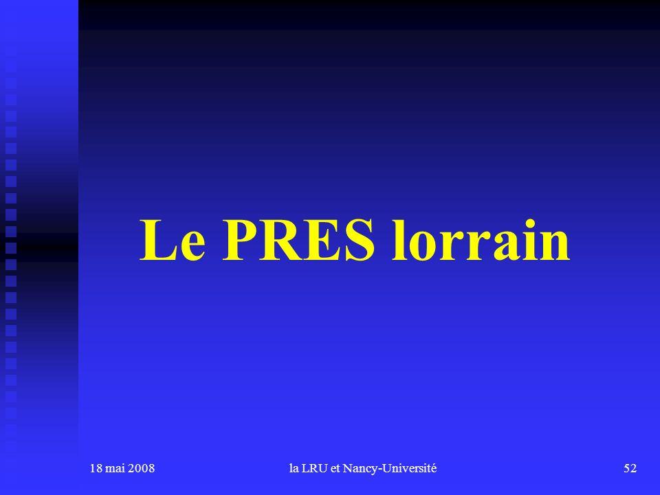 18 mai 2008la LRU et Nancy-Université52 Le PRES lorrain
