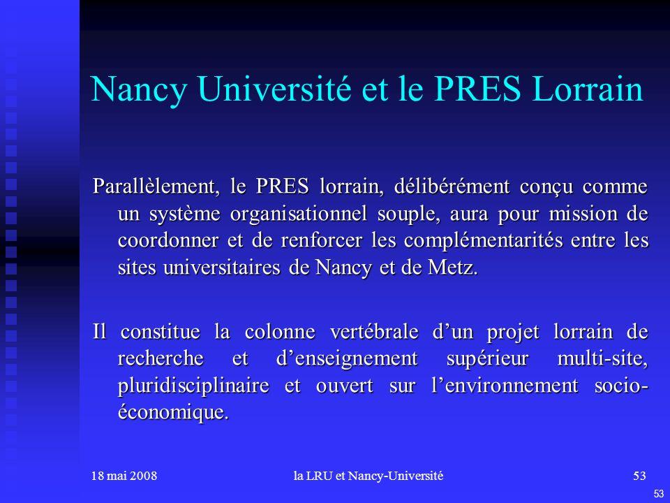 18 mai 2008la LRU et Nancy-Université53 Nancy Université et le PRES Lorrain Parallèlement, le PRES lorrain, délibérément conçu comme un système organisationnel souple, aura pour mission de coordonner et de renforcer les complémentarités entre les sites universitaires de Nancy et de Metz.