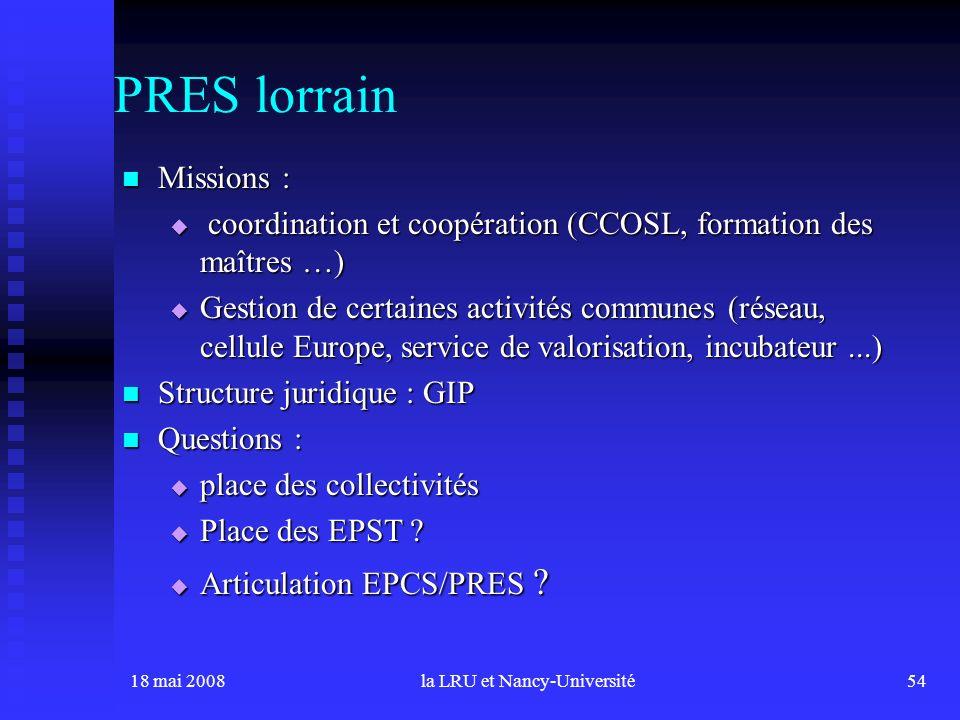 18 mai 2008la LRU et Nancy-Université54 PRES lorrain Missions : Missions : coordination et coopération (CCOSL, formation des maîtres …) coordination e