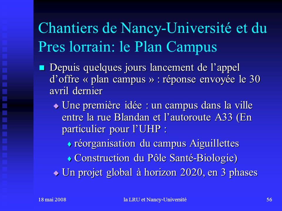 18 mai 2008la LRU et Nancy-Université56 Chantiers de Nancy-Université et du Pres lorrain: le Plan Campus Depuis quelques jours lancement de lappel dof