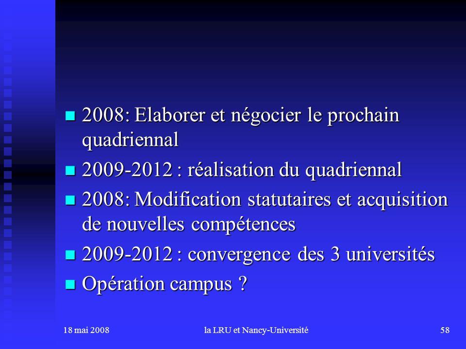 18 mai 2008la LRU et Nancy-Université58 2008: Elaborer et négocier le prochain quadriennal 2008: Elaborer et négocier le prochain quadriennal 2009-201