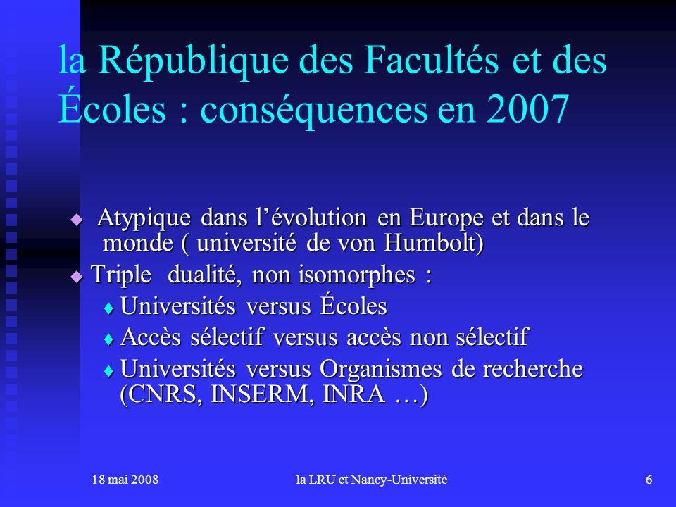 18 mai 2008la LRU et Nancy-Université6 la République des Facultés et des Écoles : conséquences en 2007 Atypique dans lévolution en Europe et dans le m