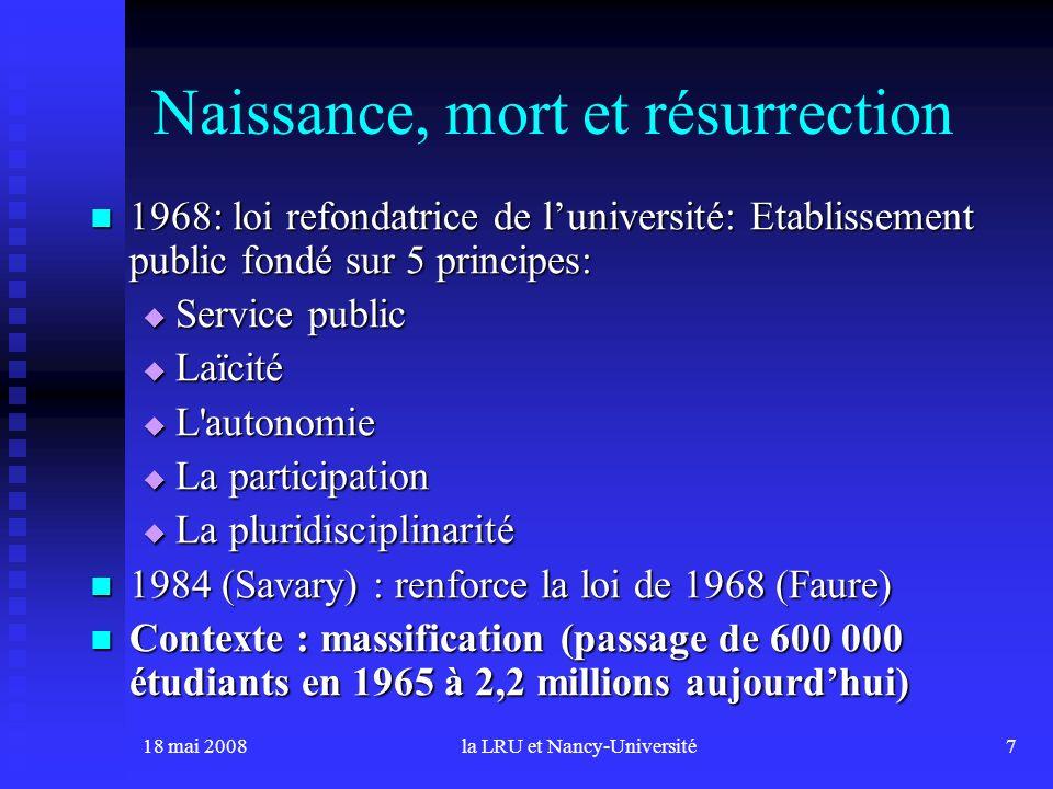 18 mai 2008la LRU et Nancy-Université7 Naissance, mort et résurrection 1968: loi refondatrice de luniversité: Etablissement public fondé sur 5 princip