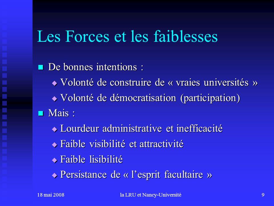 18 mai 2008la LRU et Nancy-Université9 Les Forces et les faiblesses De bonnes intentions : De bonnes intentions : Volonté de construire de « vraies un