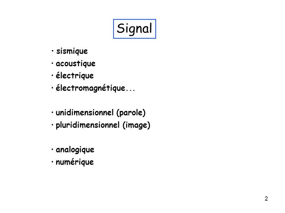 2 Signal sismique acoustique électrique électromagnétique... unidimensionnel (parole) pluridimensionnel (image) analogique numérique