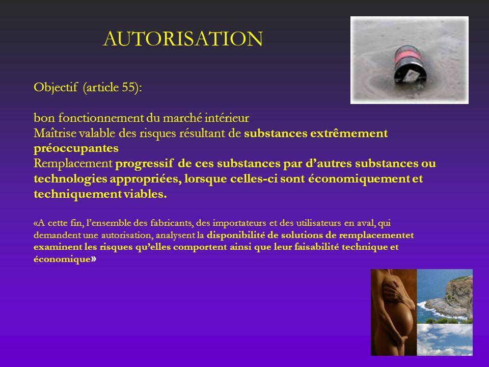 AUTORISATION Objectif (article 55): bon fonctionnement du marché intérieur Maîtrise valable des risques résultant de substances extrêmement préoccupan