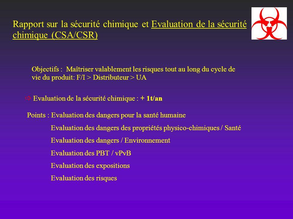 Rapport sur la sécurité chimique et Evaluation de la sécurité chimique (CSA/CSR) Objectifs : Maîtriser valablement les risques tout au long du cycle d
