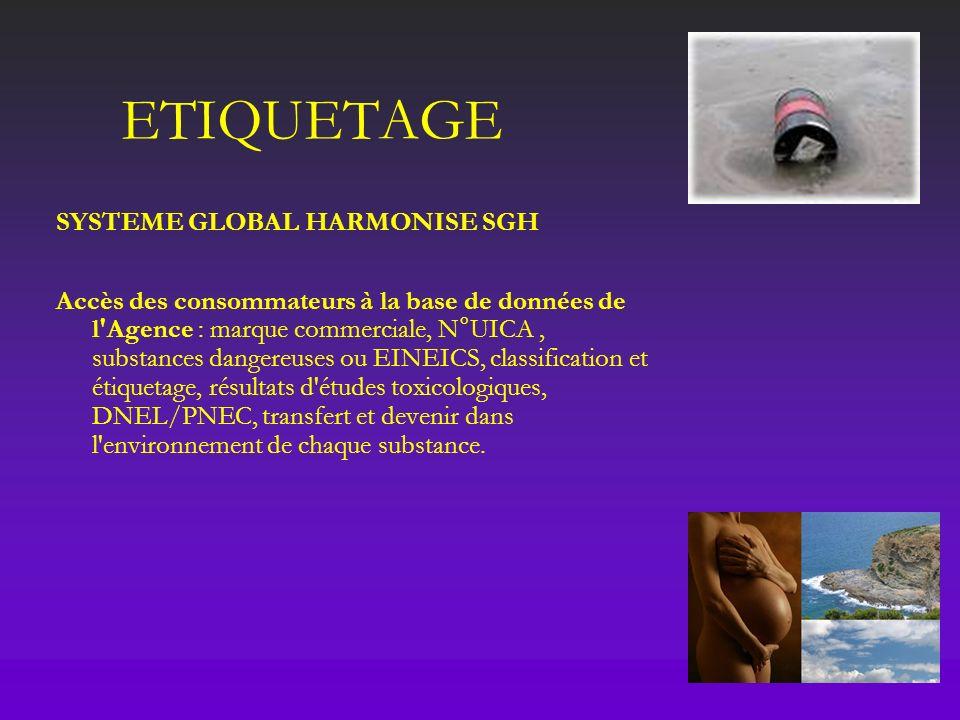 ETIQUETAGE SYSTEME GLOBAL HARMONISE SGH Accès des consommateurs à la base de données de l'Agence : marque commerciale, N°UICA, substances dangereuses