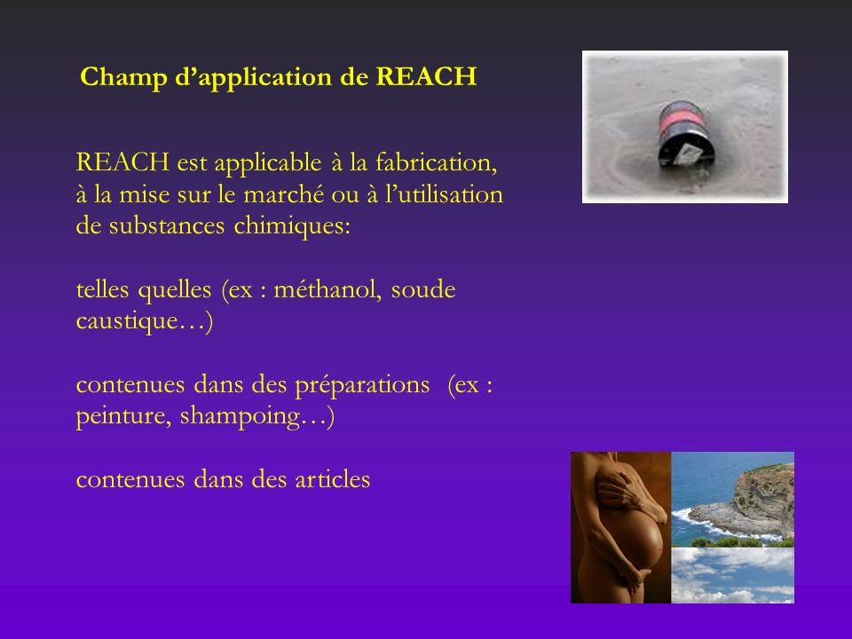 REACH est applicable à la fabrication, à la mise sur le marché ou à lutilisation de substances chimiques: telles quelles (ex : méthanol, soude caustiq