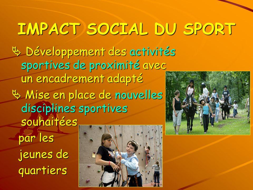 IMPACT SOCIAL DU SPORT Développement des activités sportives de proximité avec un encadrement adapté Développement des activités sportives de proximit