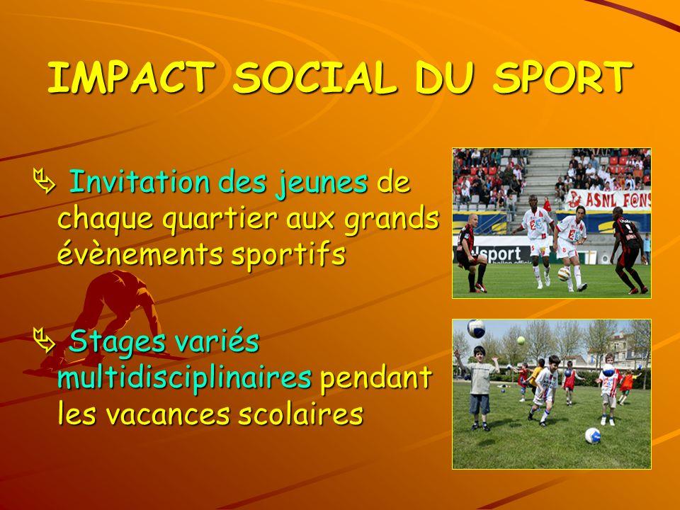 IMPACT SOCIAL DU SPORT Invitation des jeunes de chaque quartier aux grands évènements sportifs Invitation des jeunes de chaque quartier aux grands évè