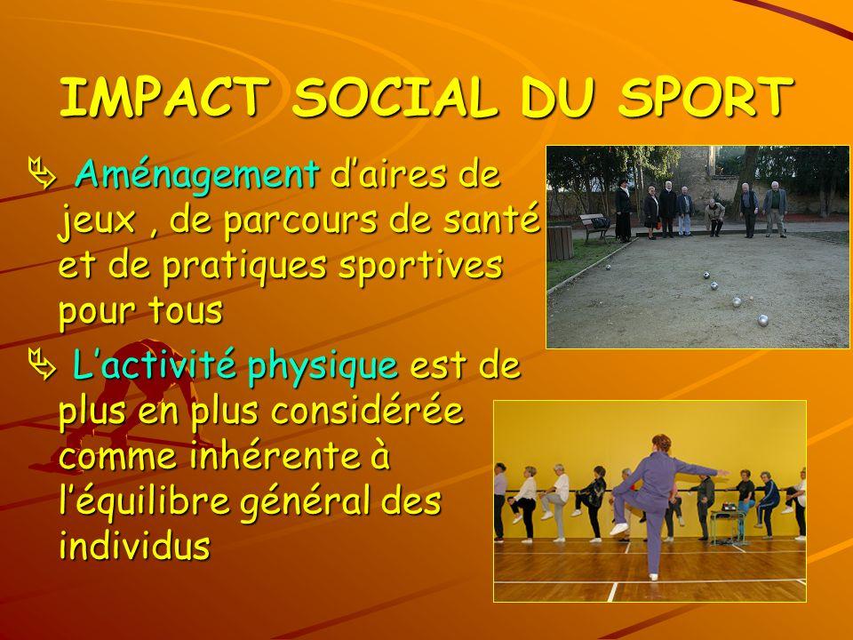 IMPACT SOCIAL DU SPORT Aménagement daires de jeux, de parcours de santé et de pratiques sportives pour tous Aménagement daires de jeux, de parcours de