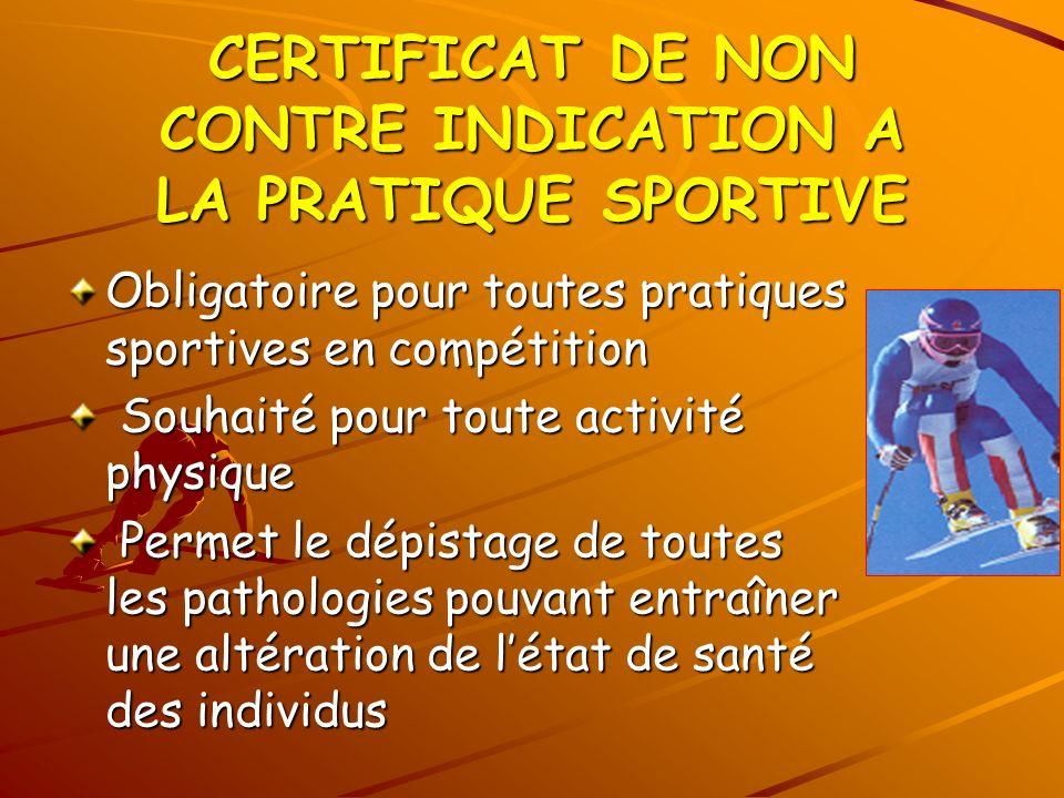 CERTIFICAT DE NON CONTRE INDICATION A LA PRATIQUE SPORTIVE Obligatoire pour toutes pratiques sportives en compétition Souhaité pour toute activité phy