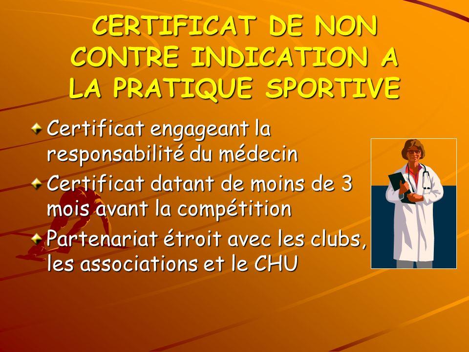 CERTIFICAT DE NON CONTRE INDICATION A LA PRATIQUE SPORTIVE Certificat engageant la responsabilité du médecin Certificat datant de moins de 3 mois avan