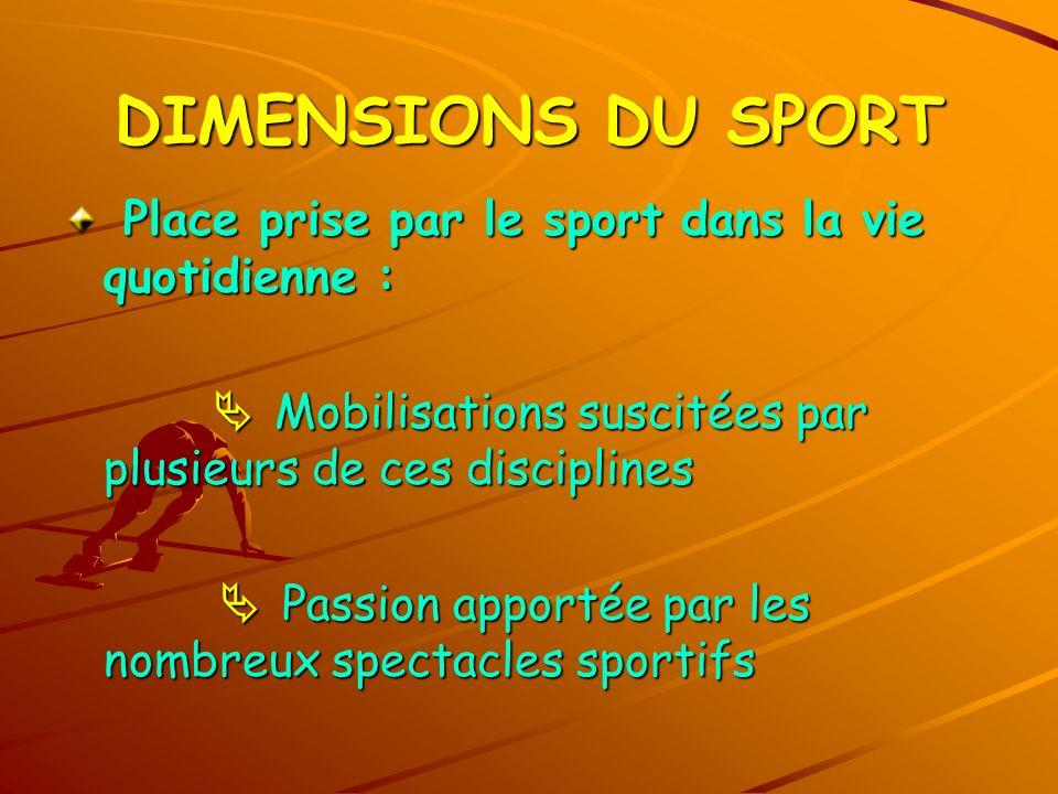DIMENSIONS DU SPORT Place prise par le sport dans la vie quotidienne : Place prise par le sport dans la vie quotidienne : Mobilisations suscitées par