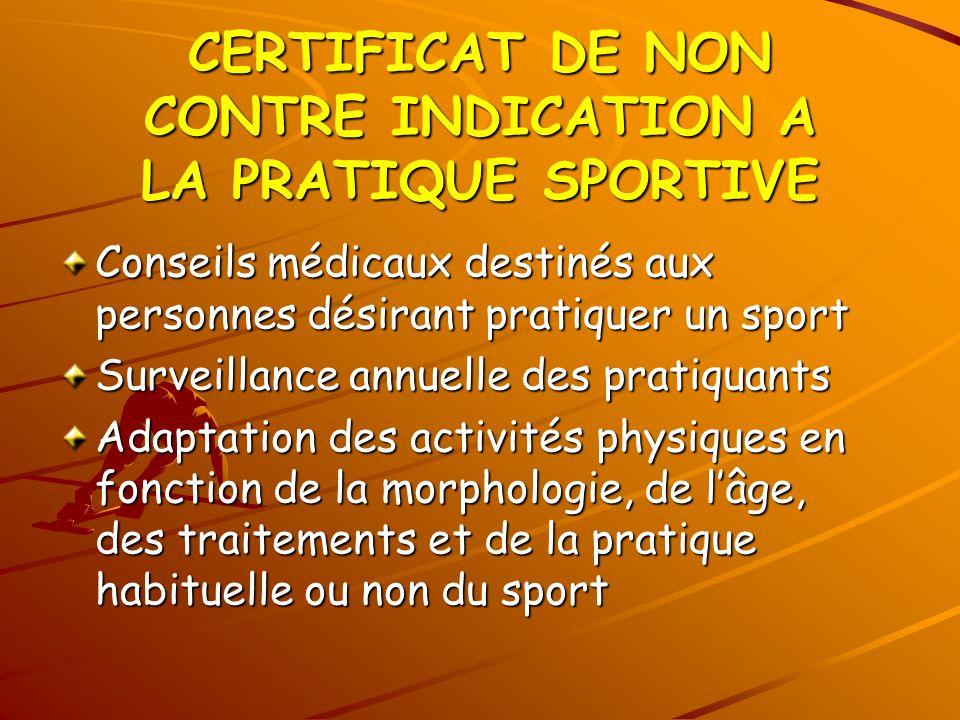 CERTIFICAT DE NON CONTRE INDICATION A LA PRATIQUE SPORTIVE Conseils médicaux destinés aux personnes désirant pratiquer un sport Surveillance annuelle
