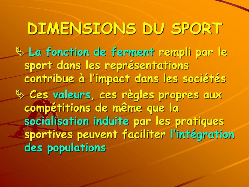 DIMENSIONS DU SPORT La fonction de ferment rempli par le sport dans les représentations contribue à limpact dans les sociétés La fonction de ferment r