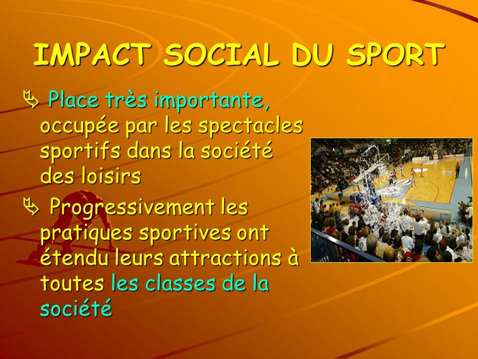 IMPACT SOCIAL DU SPORT Place très importante, occupée par les spectacles sportifs dans la société des loisirs Place très importante, occupée par les s
