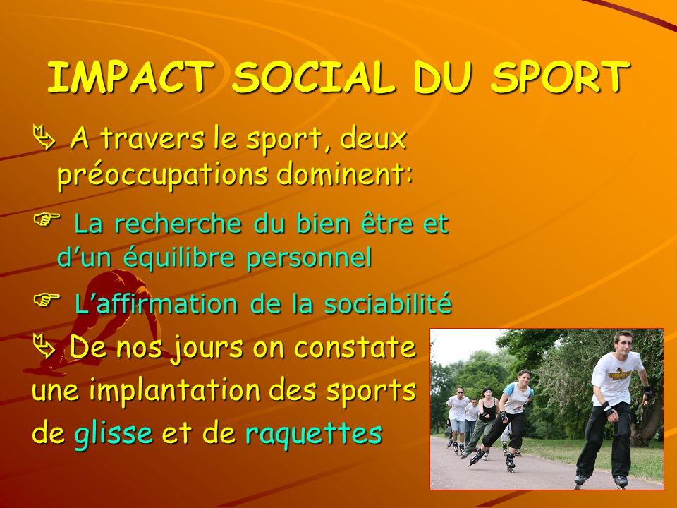 IMPACT SOCIAL DU SPORT A travers le sport, deux préoccupations dominent: A travers le sport, deux préoccupations dominent: La recherche du bien être e