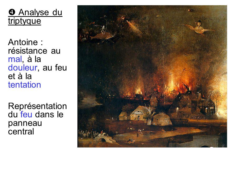 Analyse du triptyque Antoine : résistance au mal, à la douleur, au feu et à la tentation Représentation du feu dans le panneau central