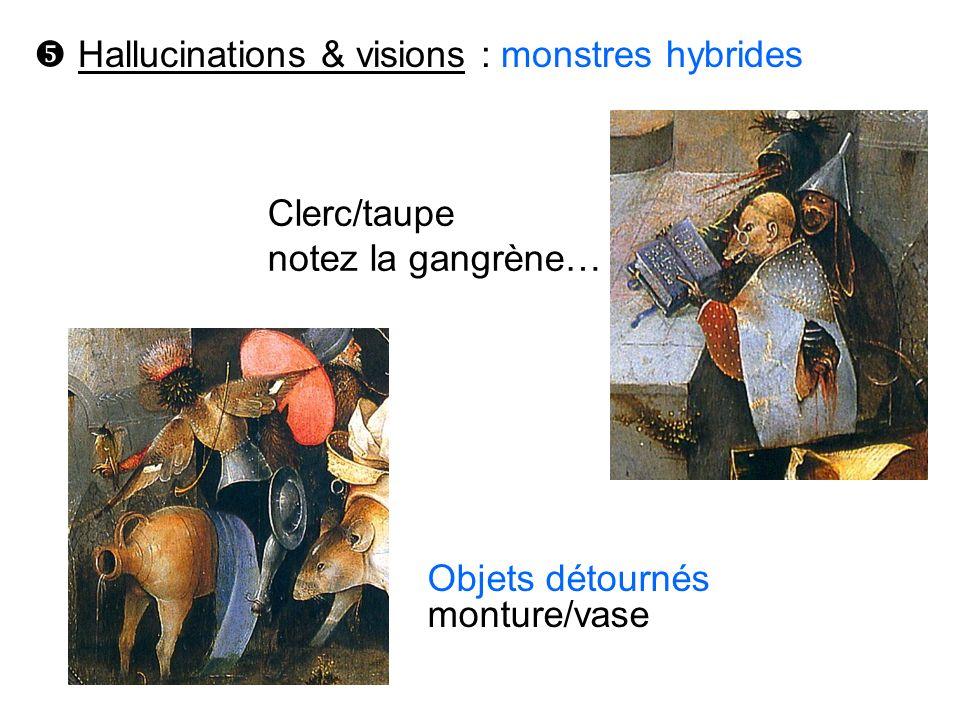 Hallucinations & visions : monstres hybrides Objets détournés monture/vase Clerc/taupe notez la gangrène…