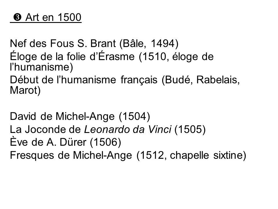 Art en 1500 Nef des Fous S. Brant (Bâle, 1494) Éloge de la folie dÉrasme (1510, éloge de lhumanisme) Début de lhumanisme français (Budé, Rabelais, Mar