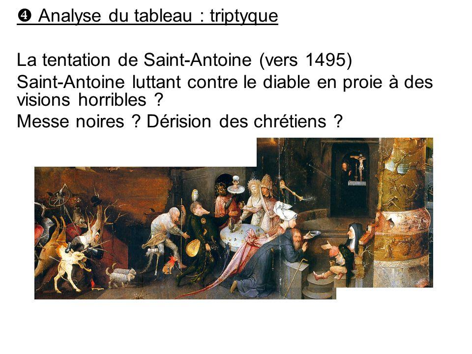 Analyse du tableau : triptyque La tentation de Saint-Antoine (vers 1495) Saint-Antoine luttant contre le diable en proie à des visions horribles ? Mes