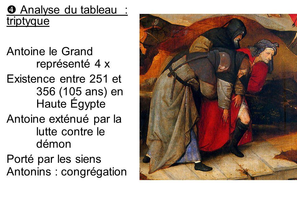 Analyse du tableau : triptyque Antoine le Grand représenté 4 x Existence entre 251 et 356 (105 ans) en Haute Égypte Antoine exténué par la lutte contr